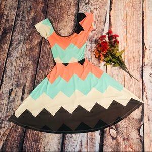 Rue 21 Summer Boho Dress Chevron Peach